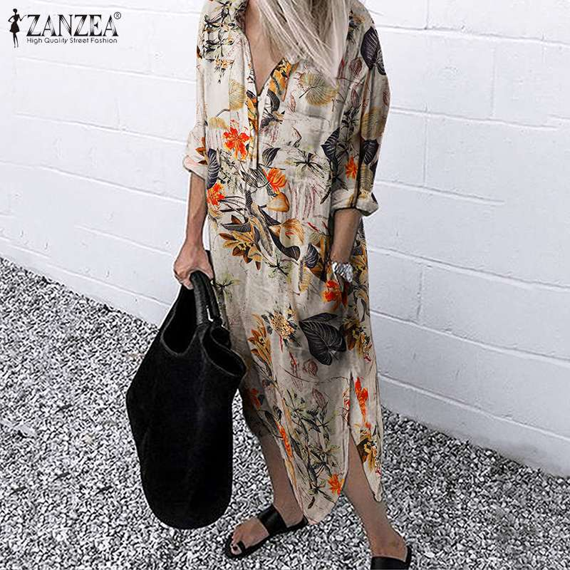 ZANZEA Vintage robe de soleil imprimée florale automne femmes à manches longues coton robe en lin décontracté fendu Vestido caftan rétro robe Midi