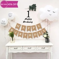 new concise happy birthday decoration kraft paper banner white balloon decor birthday party bunting garland surprise party decor