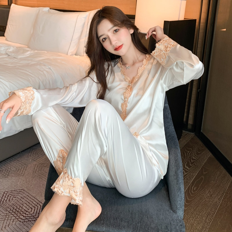 Ice Silk Pajamas Women's 2021 New Summer Day Thin Long Sleeve Home Clothes Set Simulation Silk Sprin