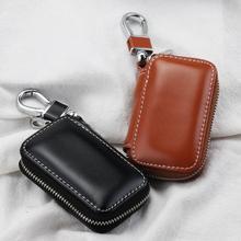 Genuine Leather Car Key Fob Case Cover Keychain Zipper Bag Protector Car Key Pouch Bag Case Wallet H
