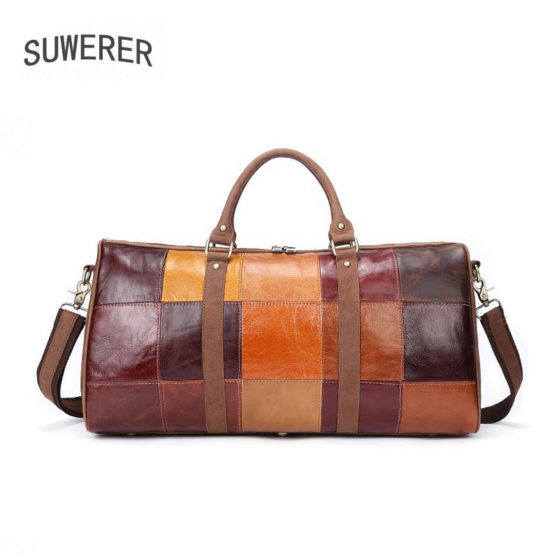 SUWERER Genuine Leather men bag Stitched leather travel brand large capacity real cowhide luggage