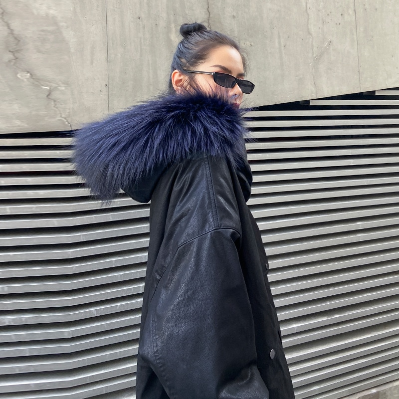 Russia Winter Women PU Leather Jacket Thick Cotton Padded Hooded Coat Moto with Faux Raccoon Fur Pocket Zipper Plus Size Outwear enlarge