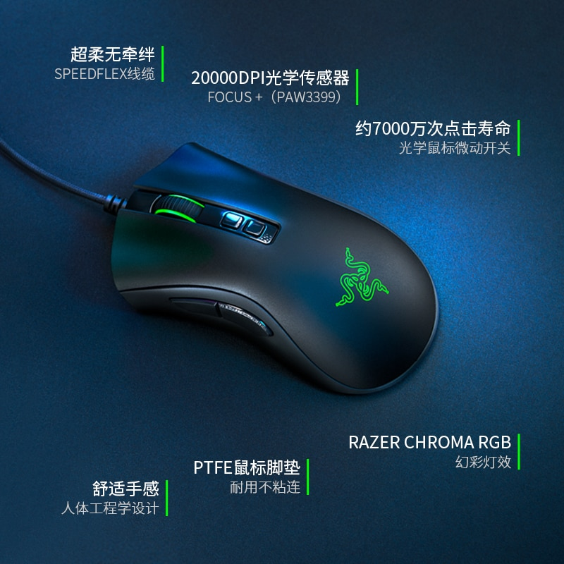 Razer DeathAdder V2 E-Sports RGB Light Cable Computer Gaming Laptop  Mouse CF Macro Game Mice