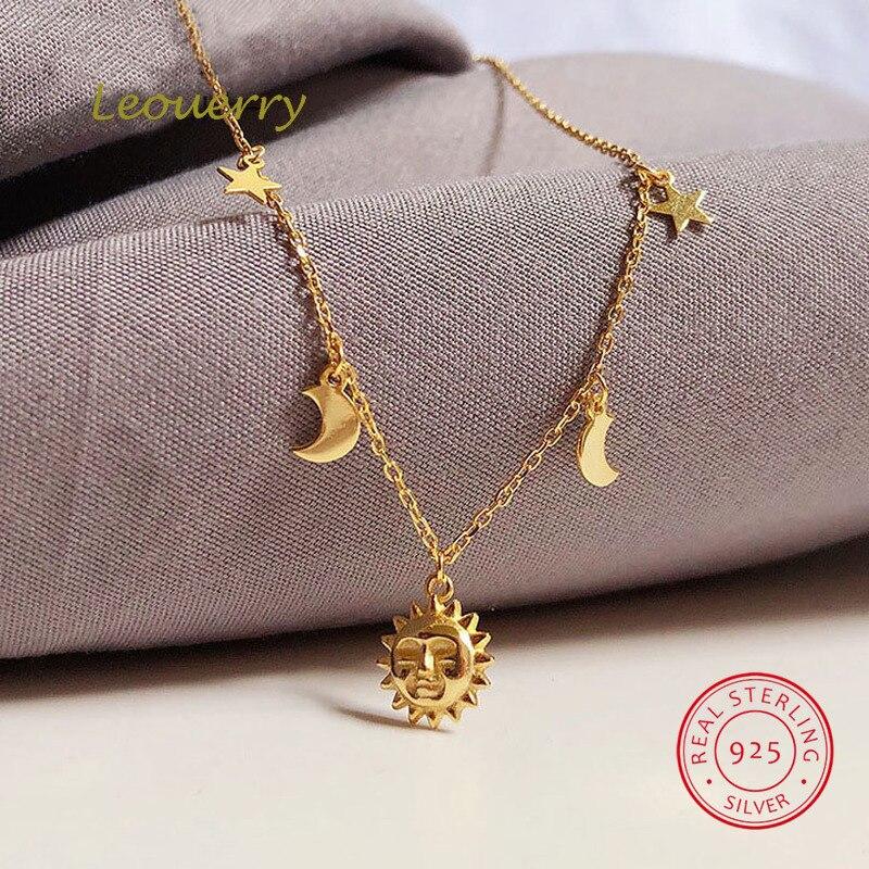 Collar de luna y estrella Leouerry de Plata de Ley 925, collar de cadena Clavicular bañado en oro de 14K para mujer, joyería Simple