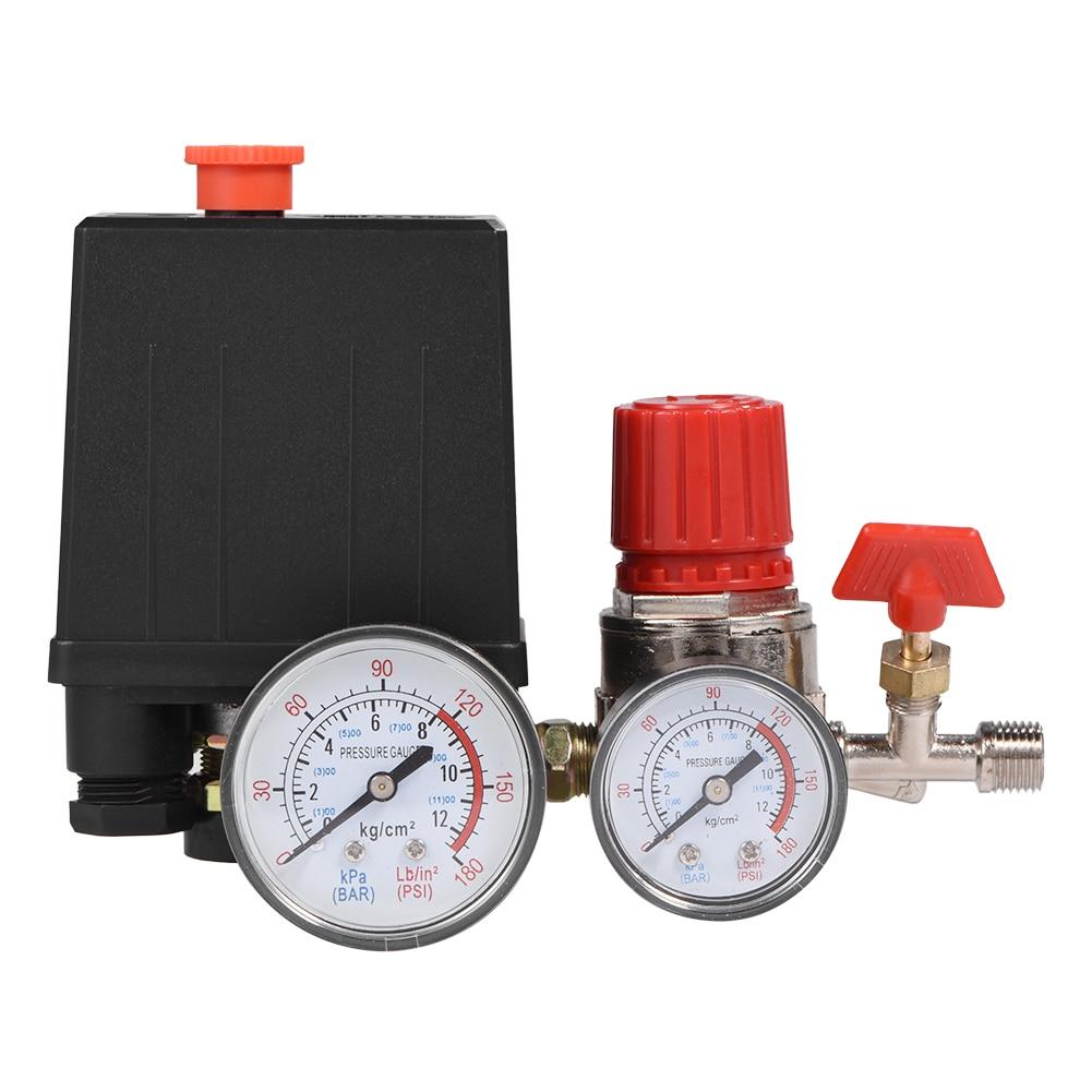 7,25 л/мин регулятор Сверхмощный воздушный компрессор насос контроль давления переключатель 4 порта воздушный насос регулирующий клапан 125-фунтов/кв. дюйм с манометром