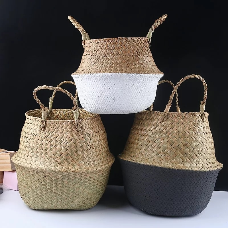 aliexpress.com - Wicker Storage Basket Flower Baskets Laundry Storage Decorative Basket Rattan Flower Pot Garden Planters Household Organizer