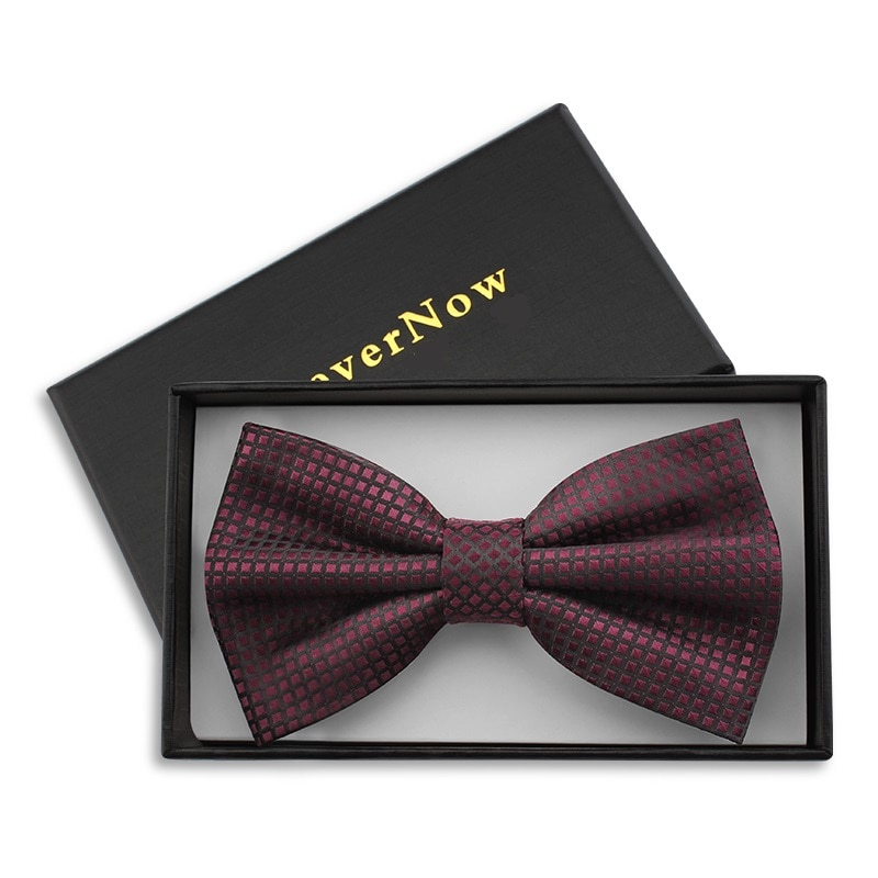 2019 New Fashion Men's Bow Ties for Wedding Double Fabric Wine Red Plaid Bowtie Club Banquet Party Butterfly Tie with Gift Box