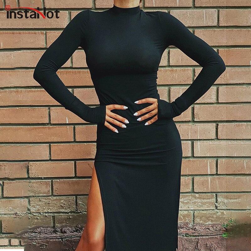 InstaHot-robe à manches longues, tenue fendue, Sexy, élégante, fête et bureau, couleur unie, noir, rouge, longueur aux genoux, collection automne 2020