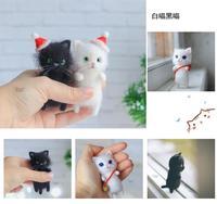 diy toys Cute and interesting handmade wool felt cat kits unfinished plush doll poking  gift CHRISTMAS birthday