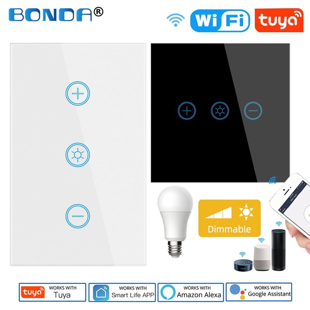 Tuya Dimmer Switch WiFi Smart Light Touch Switch LED Dimming Compatible Alexa Google Home Dimmable 110V 220V US EU UK Smart Life