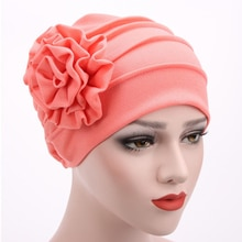 Vrouwen Grote Bloem Tulband Hoed Chemo Haaruitval Cap Winter Klassieke Gebreide Caps