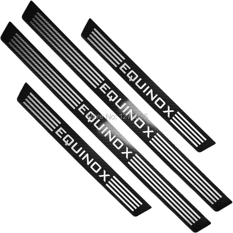 Para 2018 2019 2020 Chevrolet Equinox fibra de carbono Umbral de puerta Kick protector de placa de desgaste protectores Trim Cover accesorios de estilo de coche