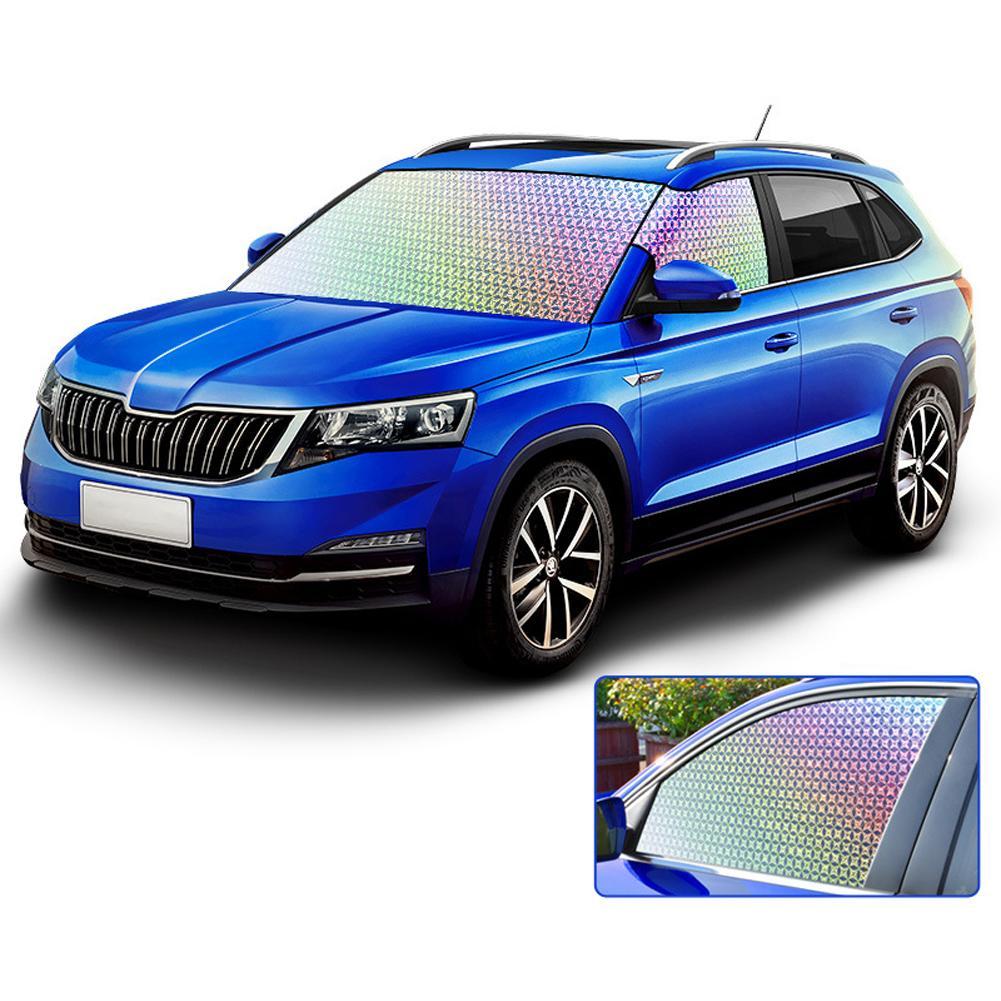 Sombrilla de parabrisas de coche ventana delantera 500T bloques de poliéster reflectante Protector solar UV escudos plegables para mantener el frío del vehículo
