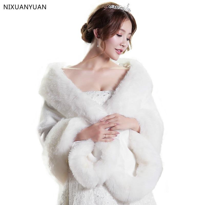 Red/White Wedding Bolero Winter Bridal Shrug Faux Fur Wedding Shawls Women Wraps Bridal Jacket Party Coat Bridal Shawl