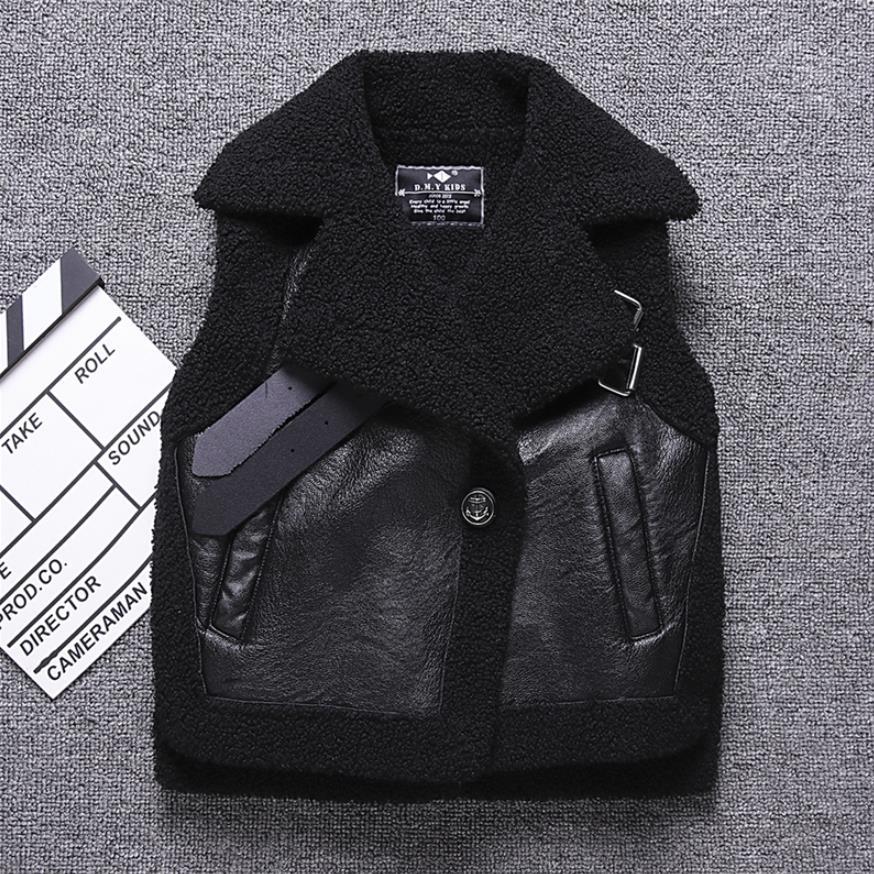 Children's Plus velvet PU Leather vest Autumn Winter boys girls warm coat waistcoat modis stitching kids jackets vest Y2556