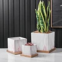 Pots de fleurs en ceramique marbre Simple et moderne  jardiniere carree avec plateau  coeur de fille  plantes de feuillage  plantes vertes