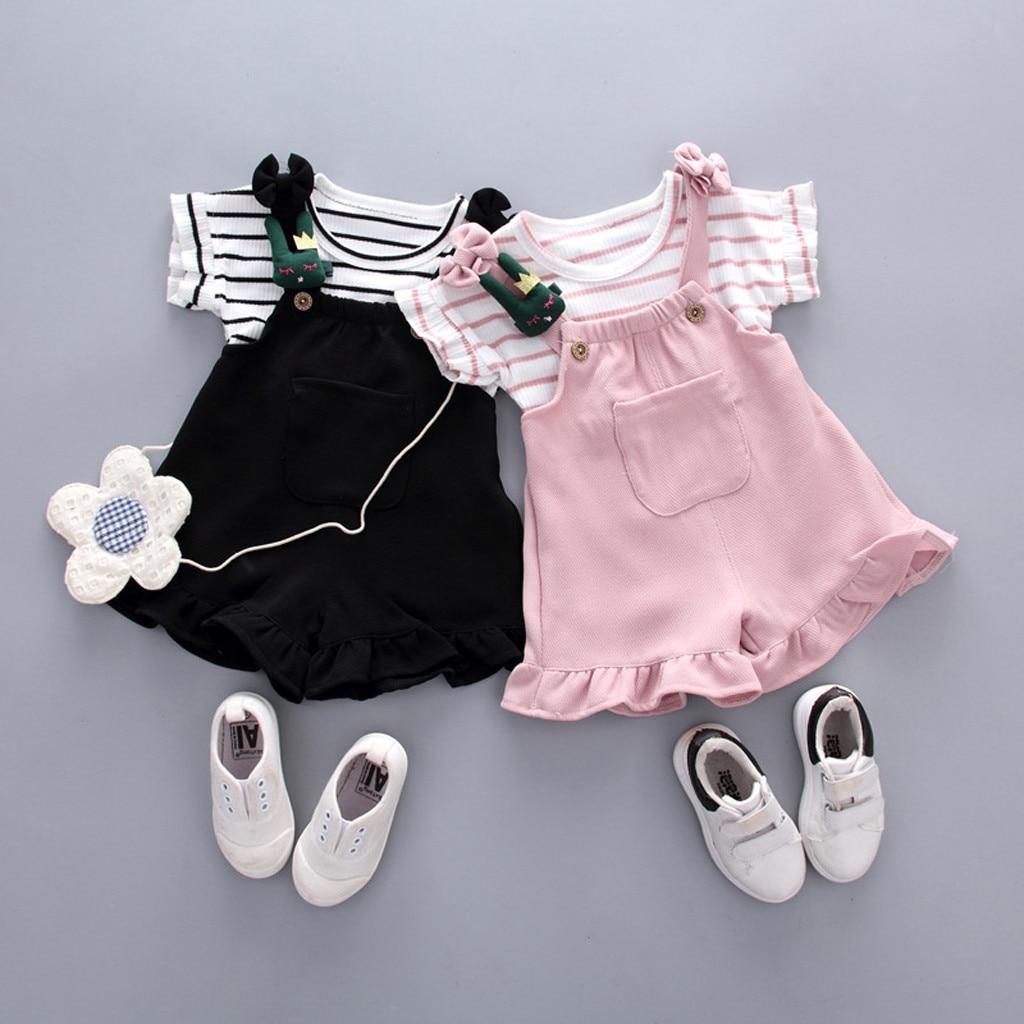 Kleinkind Baby Kinder Anzug Mädchen Gestreiften Ärmelloses Shirt + Hosenträger Shorts Outfits Set Casual Newborn Kid Kleidung Kinder Kostüme