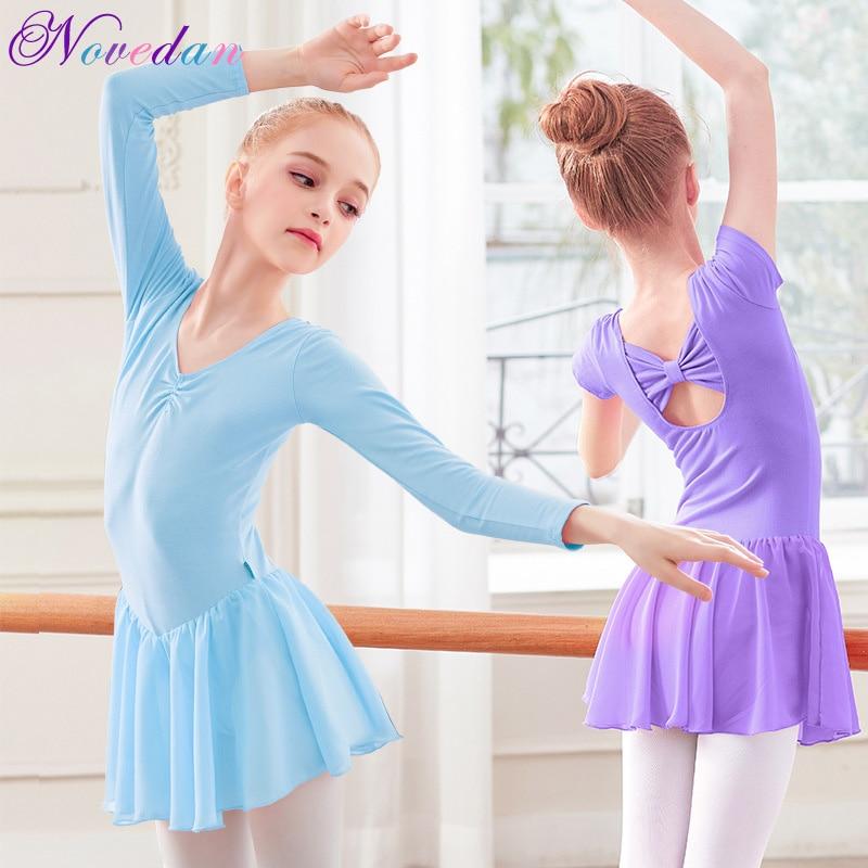 Toddler Girls Ballet Dress Cotton Gymnastics Leotard Ballet Costumes Kids Professional Training Dancerwear With Chiffon Skirts