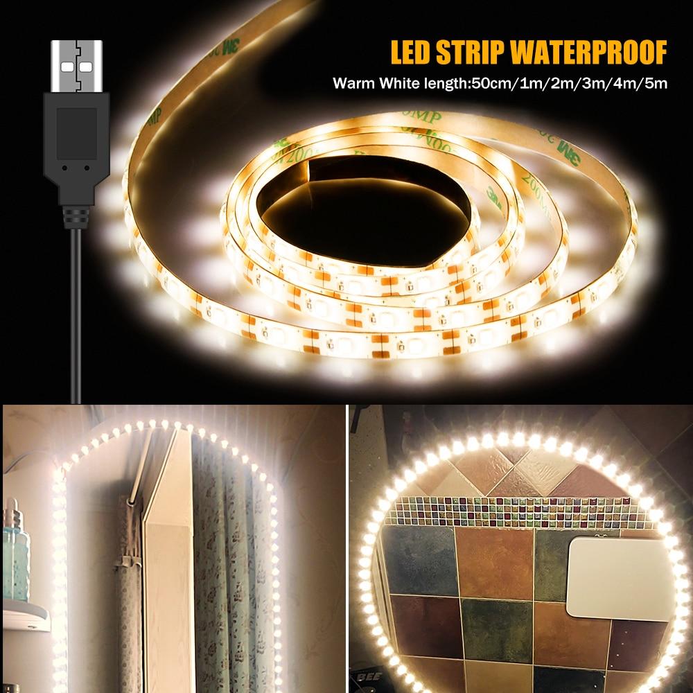5M Vanity Makeup Mirror Lamp Led Light Strip 5V USB LED Flexible Tape Led Dressing Table mirror Lamp Decor Bathroom Light Strip
