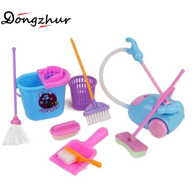 9 sztuk/zestaw Dollhouse symulacja czyszczenie narzędzia dzieci udawaj zagraj w zabawki Mini Mop kubły na śmieci czyste narzędzia Model dzieci bawią się zabawka domowa
