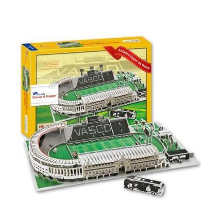 Estadio Vasco Da Gama Estadio fútbol papel 3D DIY rompecabezas modelo juguete educativo Kits niños niño regalo juguete