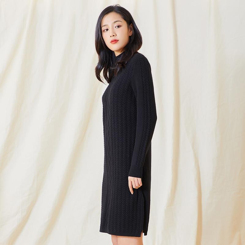 CHERICOM, nueva camisa de punto de cuello semi alto, camisa básica de longitud media para mujer, suéter adelgazante de estilo coreano para mujer, 238019