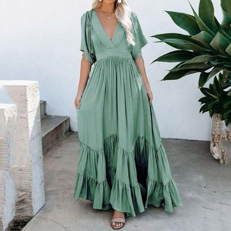 Boêmio moda feminina grande hem plissado longo vestido até o chão meia manga v pescoço maxi vestido