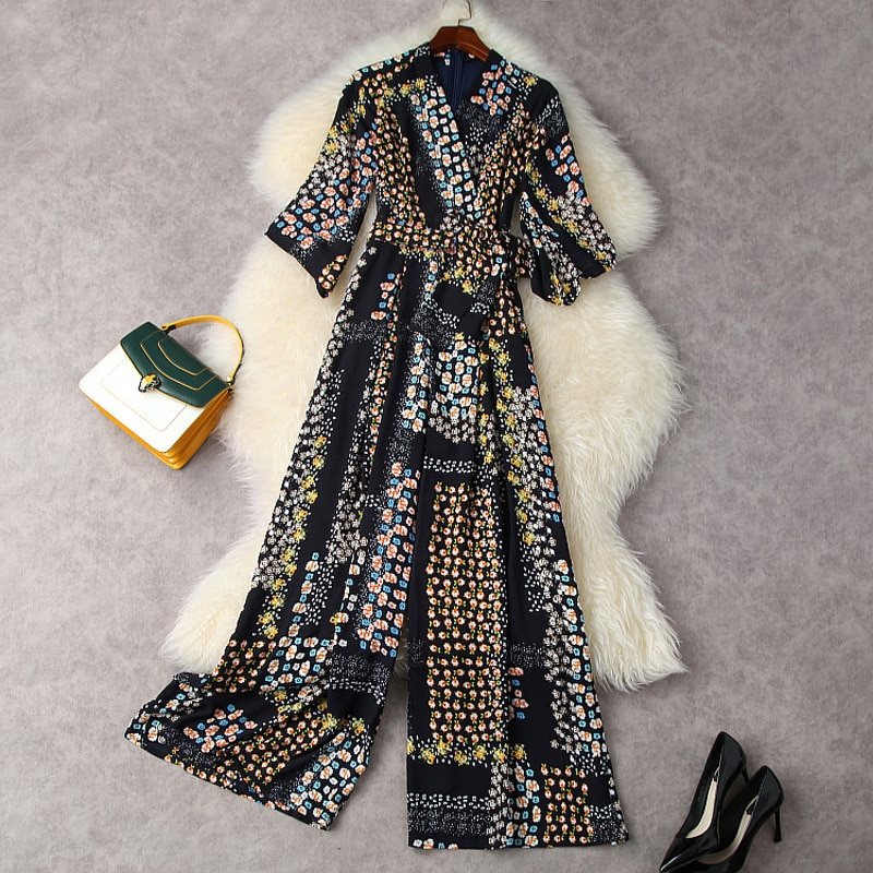 Rompers Women Jumpsuits Summer 2021 New Fashion V-Neck High Waist Chiffon Printed Wide Leg Long One-Piece Rompers Female S-XL