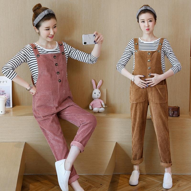 811 # herbst Winter Koreanische Mode Cord Mutterschaft Bib Hosen Overalls Kleidung für Schwangere Frauen Lose Schwangerschaft Overalls