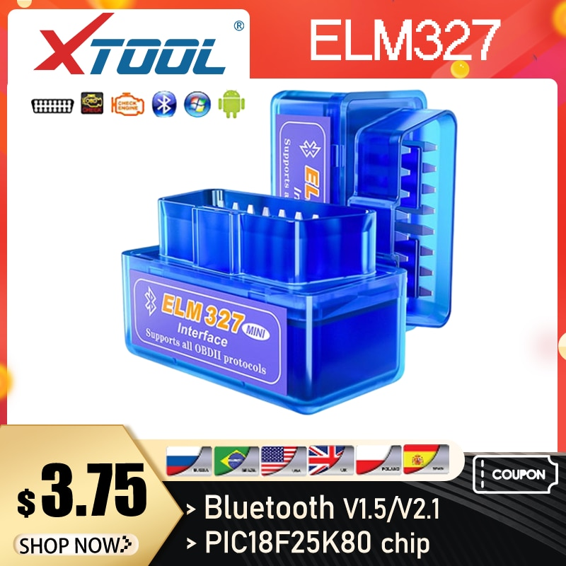 XTOOL Mini Elm327 Bluetooth V1.5/V2.1 PIC18F25K80 Chip OBD2 Scanner Auto Car Diagnostic Tools Code Reader For Android Windows PC