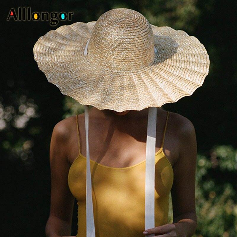 Sombrero de paja de trigo Natural verano 2020 ala ancha elegante tipo concha sombreros para el sol y la playa para mujeres moda sombrero de sol venta al por mayor Dropshipping