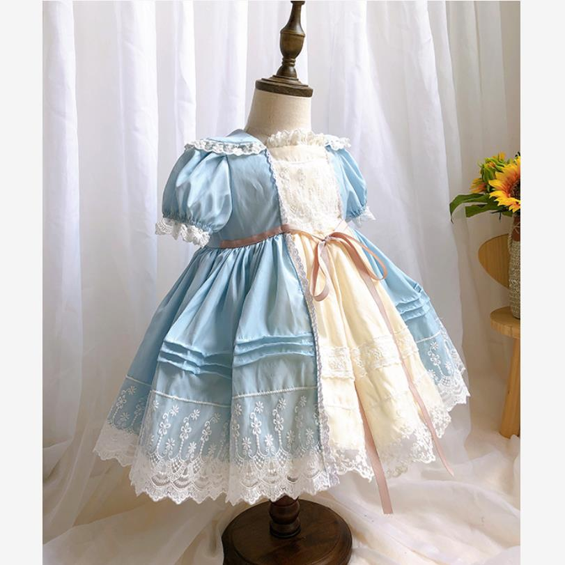 Bebê meninas roupas de verão novas meninas espanholas vestido renda malha costura vestido turquia vestido princesa do vintage para meninas y3164