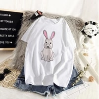 cartoon rabbits painting t shirt women aesthetic shirt ullzang harajuku vintage tshirt new fashion top tees female tumblr clothi