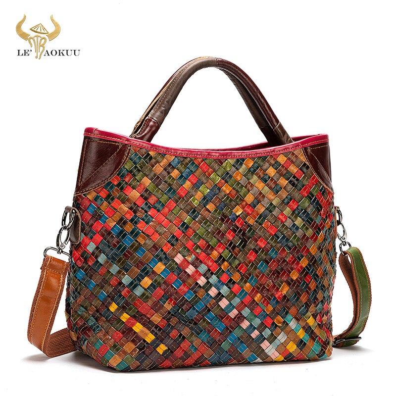 Real Leather Women Patchwork Female Luxury Brand Purse Handbag Fashion Colorful Over Shoulder Bag La