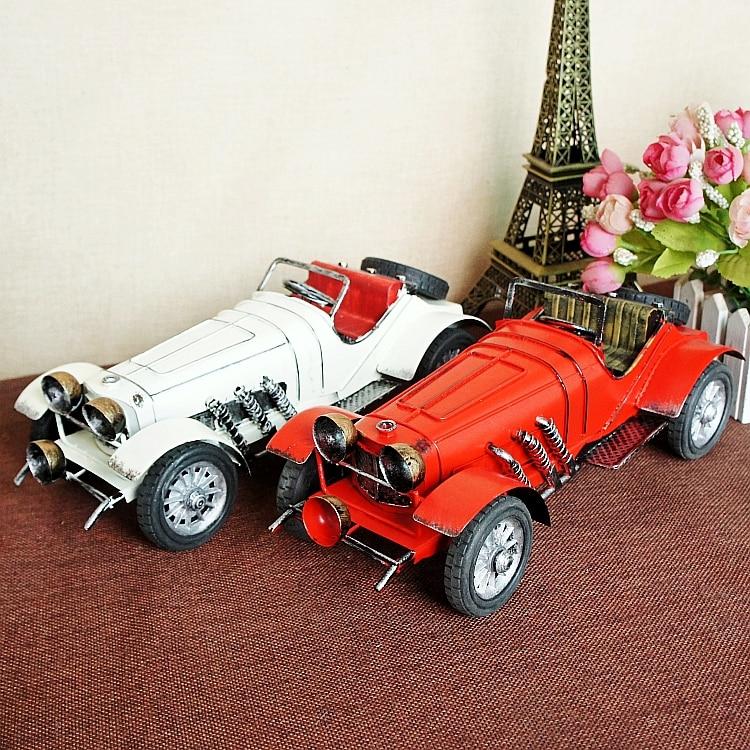 Vintage hecho a mano clásico reina para Mercedes Roadster coches de Metal Retro modelo barra miniatura muebles juguetes de regalo para niños