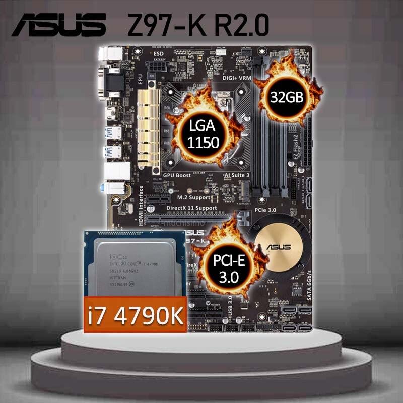 اللوحة الام للالعاب Asus Z97-K R2.0 مع انتل كور i7 4790K اللوحة كومبو LGA 1150 انتل Z97 Gaming بلاسا-mv1 e 1150 ATX مستعملة