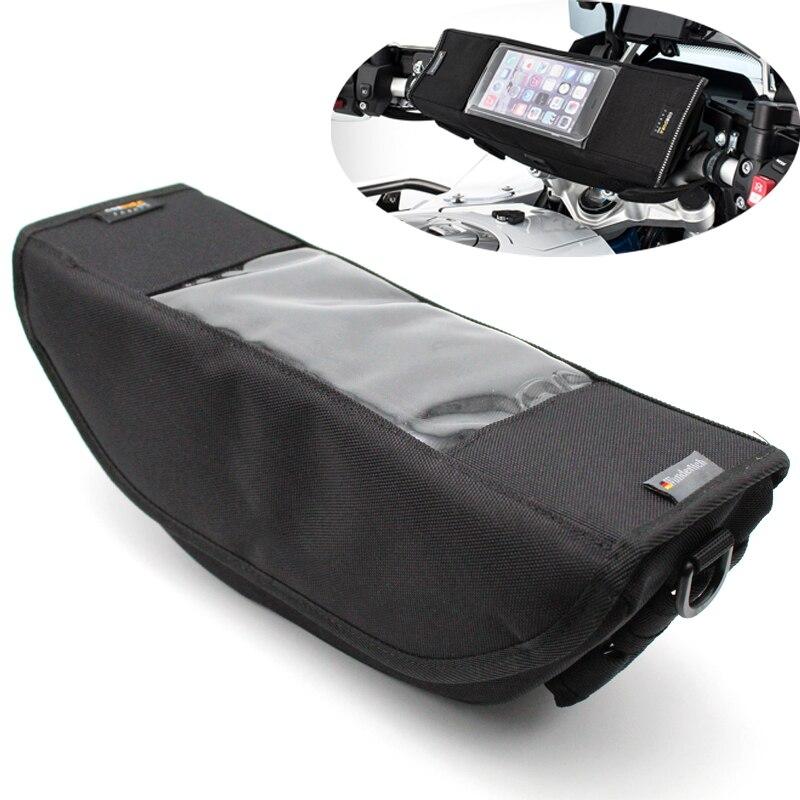Motocicleta frente guiador saco de armazenamento à prova dwaterproof água tela toque do telefone móvel saco para triumph tiger 800, tigre 1200, tigre esporte