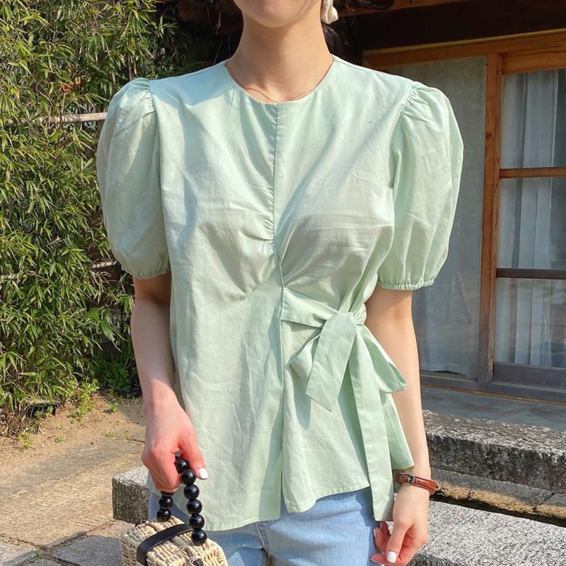South Korea Chic Summer Small Fresh Round Neck Side Tie Design Close Waist Bubble Sleeve Shirt Blous