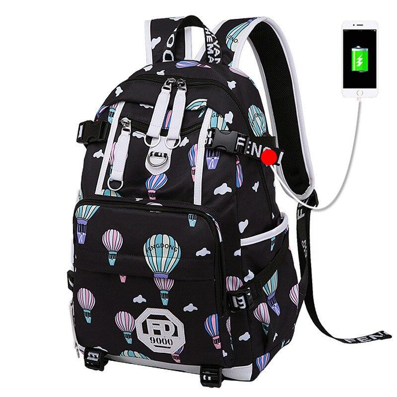 Kobiety plecak dla młodzieży szkolnej dziewczyny stylowe torby szkolne damskie plecak z portem USB żeński plecak