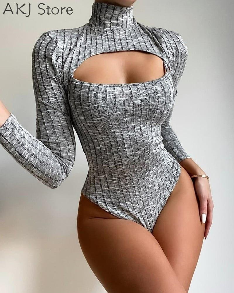 Women Ribbed High Neck Skinny Bodysuit