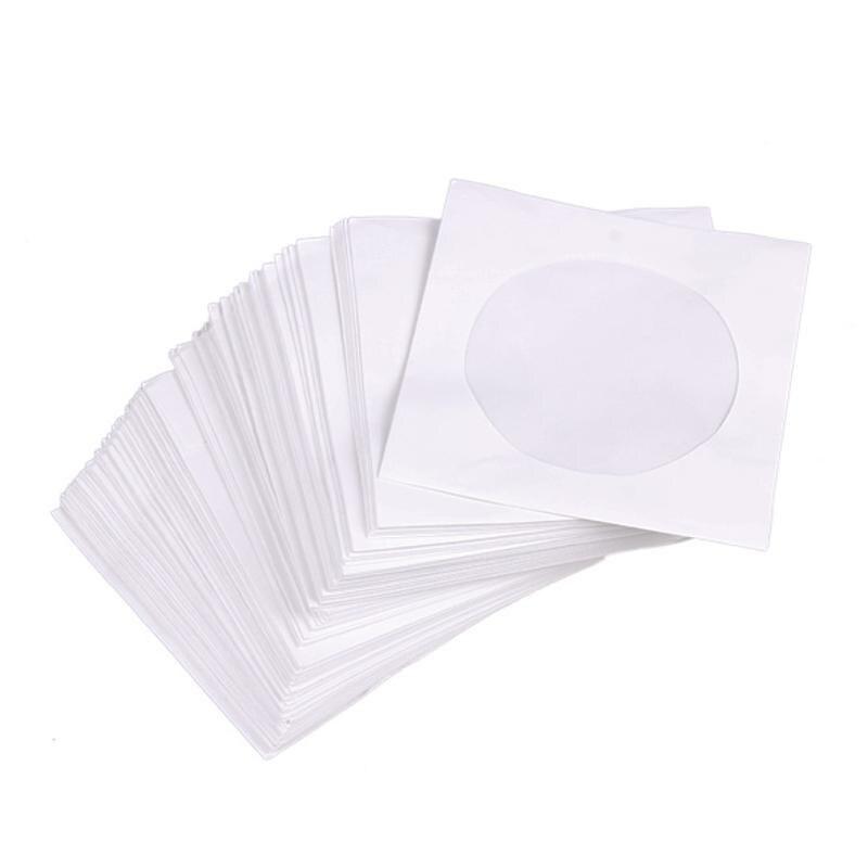 Mini 95 pces 8.5cm x 8.5cm de papel branco protetor cd dvd disco armazenamento saco envelopes aleta dustproof anti risco cd dvd proteger saco