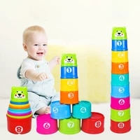 montessori baby rainbow stacking cup toy rainbow color figures folding tower early educational intelligence toy kids children