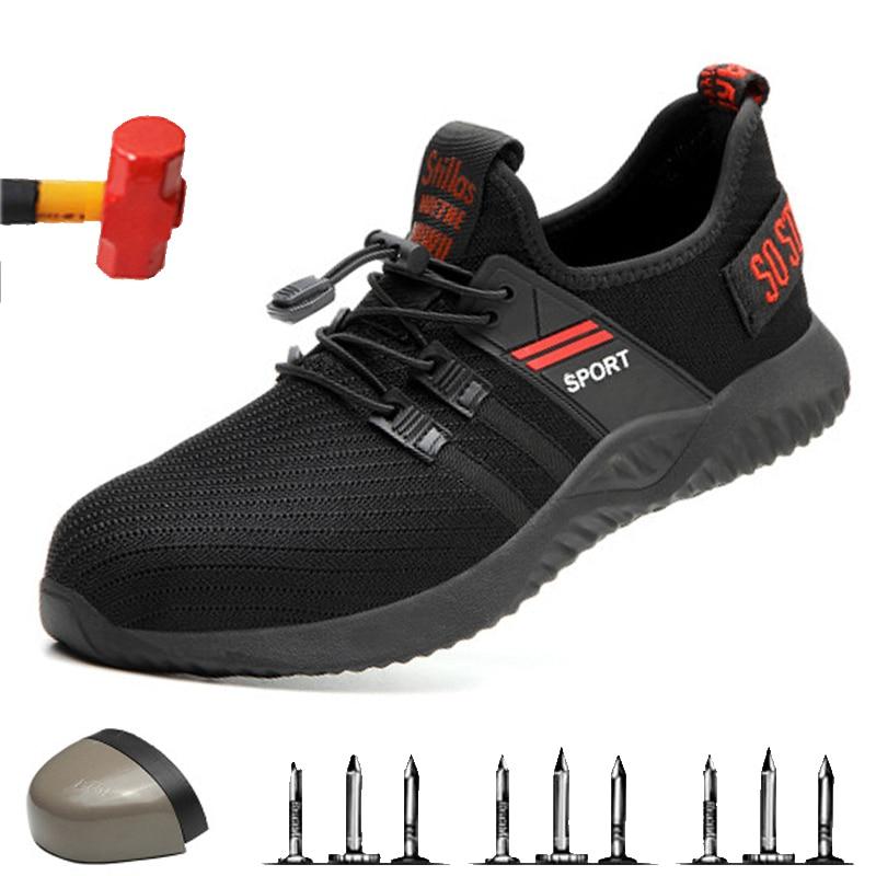 Zapatos de seguridad de alta calidad con punta de acero, ZAPATOS DE TRABAJO DE SEGURIDAD Unisex, zapatos transpirables de malla de aire, zapatos de trabajo de talla grande 36-46 de goma