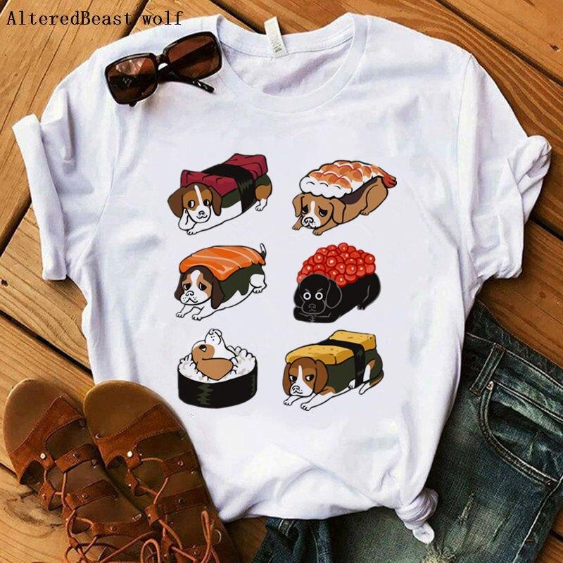 Sushi beagle mujer divertida Linda moda camiseta mujer impresión casual vogue manga corta Camiseta verano femenino harajuku camisetas de dibujos animados