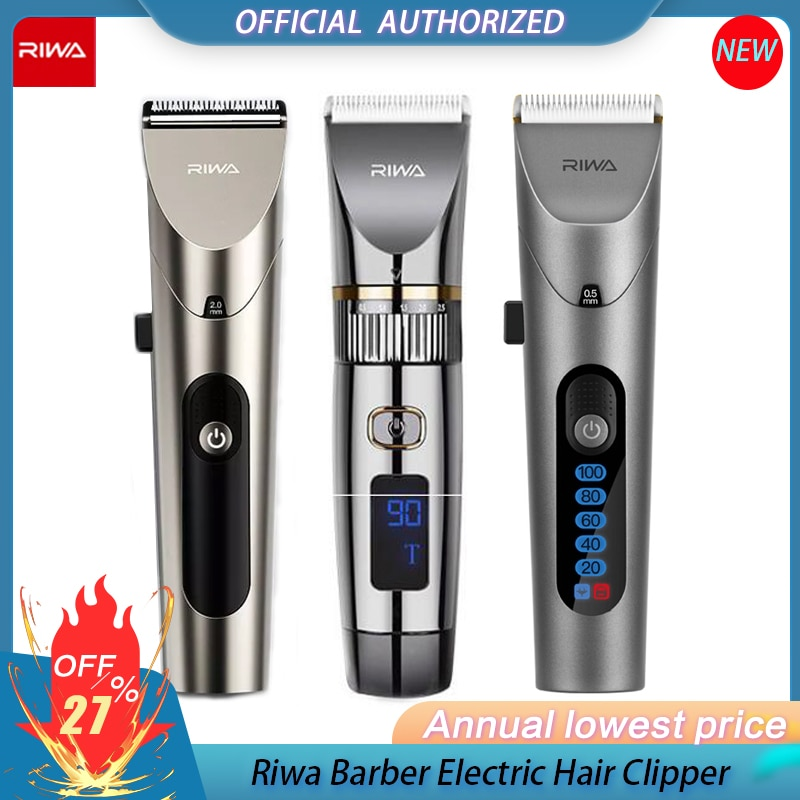 New RIWA Hair Clipper Professional Hair Trimmers With LED Screen Washable Rechargeable...