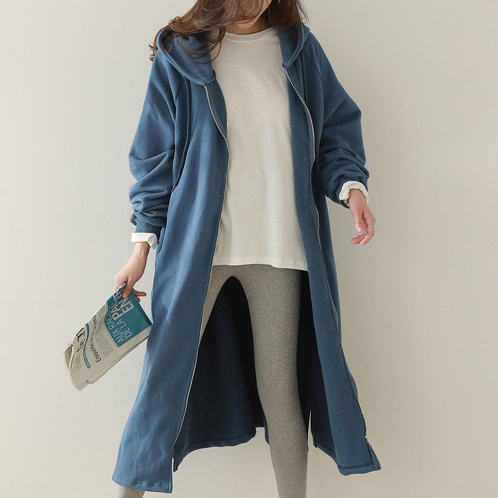 2021 Autumn Winter New Women Trench Coat Korean Fashion Plus Velvet Keep Warm Solid Color Casual Hoo