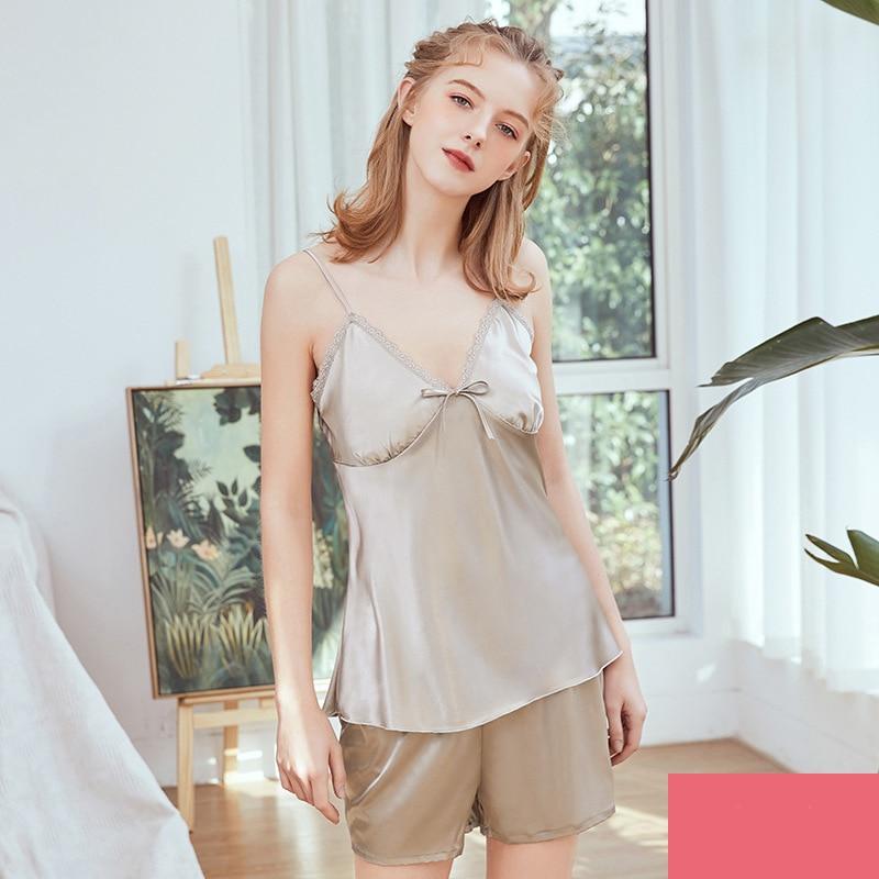 халаты Pajama Sets Sleepwear Night Dress Lace Multicolor Silk Robes For Women V Neck Sexy Sleeveless Fashion women халаты женские