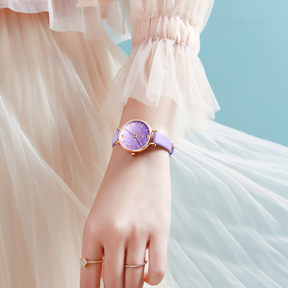 OLEVS Fashion Lady  Watches Gradient Gypsophila Design Personality  Romance Purple/Red/Blue Leather Strap Waterproof  Watch Set enlarge