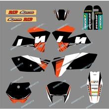 Noir et blanc nouvelle équipe colle autocollant décalcomanie graphiques pour KTM moto SX 125/250/380 /400/520 2005-2006