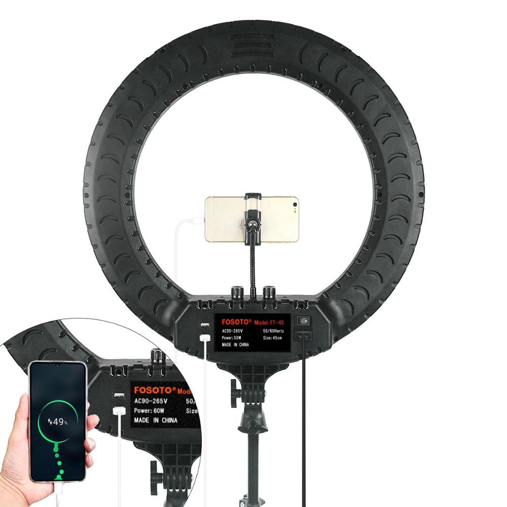 FOSOTO 18 Inch Led Ring Light 2700 -6500K Photography Lighting Camera Phone RingLight Makeup Ring Lamp With Tripod And Remote enlarge